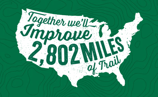 National Trails Day - image of US with words: together we'll improve 2802 miles of trail
