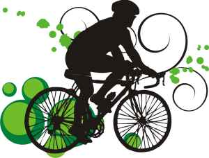 bicycle outline with green spots