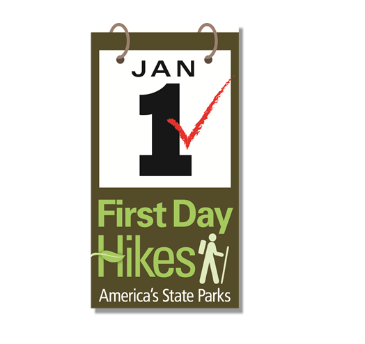 logo for First day Hike - on January 1st - at state parks across us