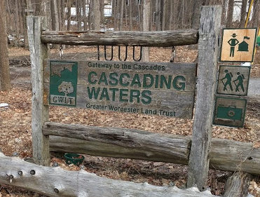 Greater Worcester Land trust sign for Cascading Waters park