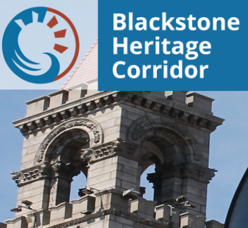 image of blackstone heritage corridor logo with a clocktower