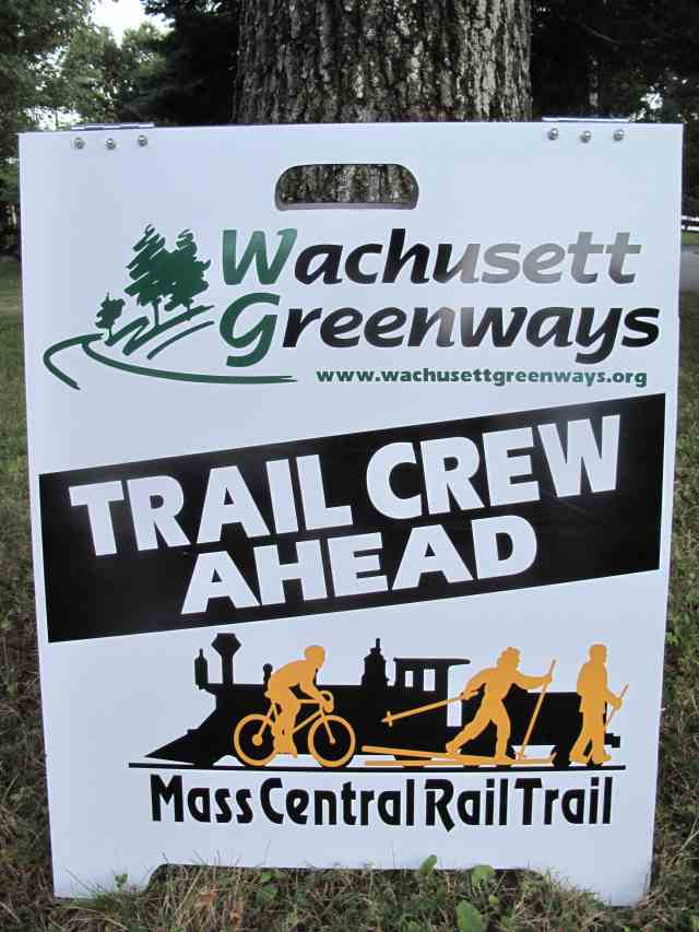 Trail crew ahead sign